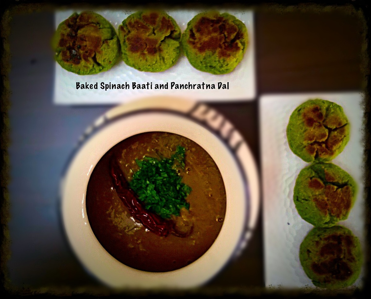 Baked Spinach Baati and Panchratna Dal Recipe