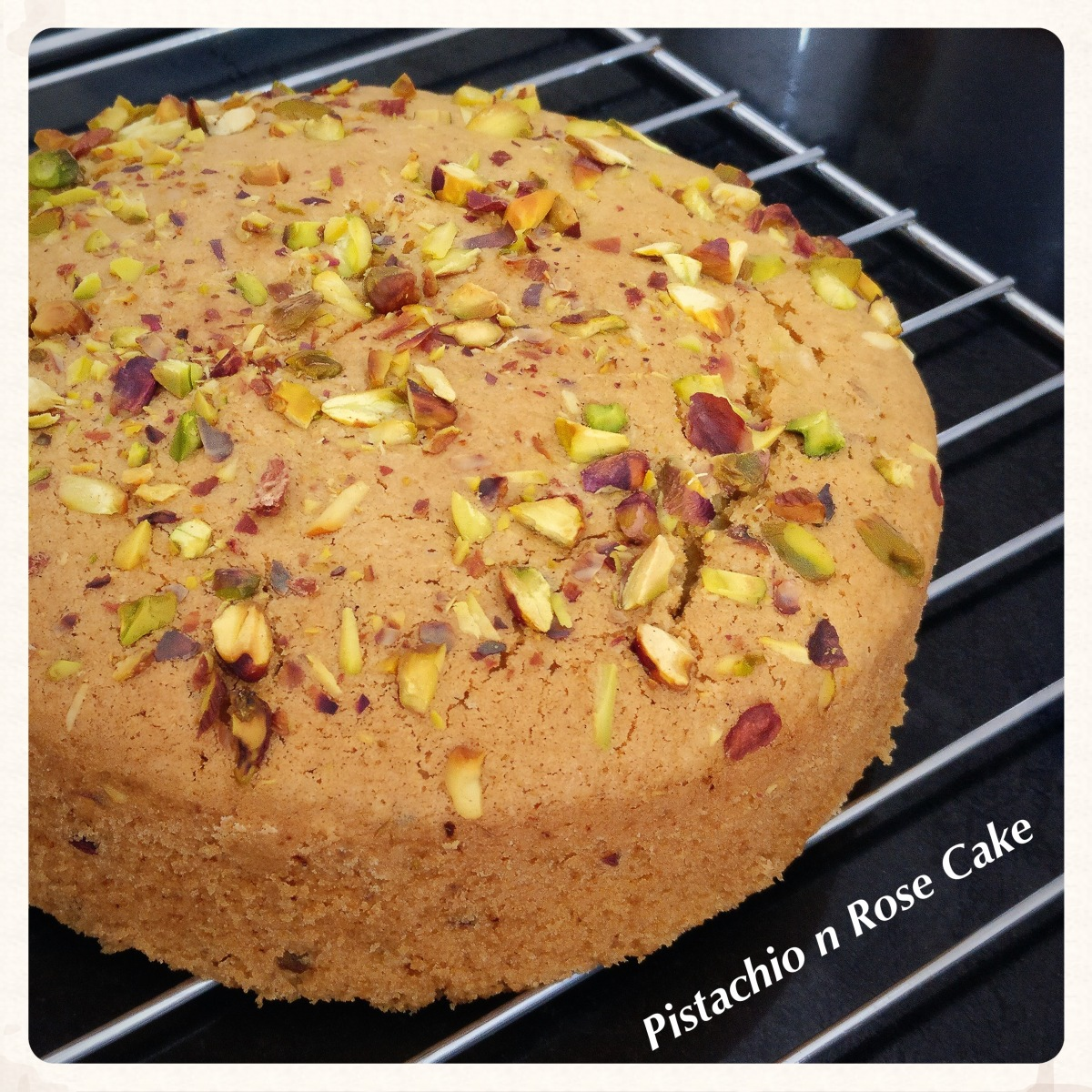 Pistachio and Rose Cake (Egg-less) Recipe